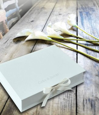 grey linen wedding box