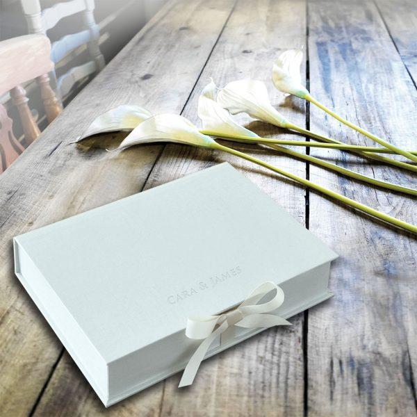 grey linen wedding box