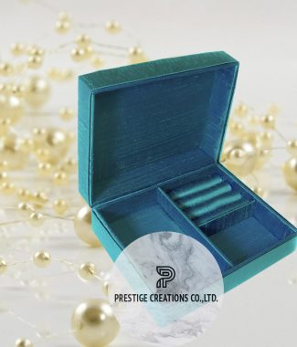 aqua blue silk jewellery box