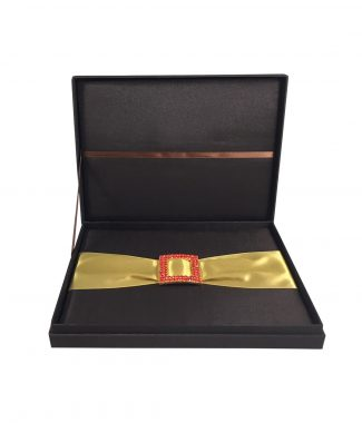 brown silk invitation box with buckle embellishment