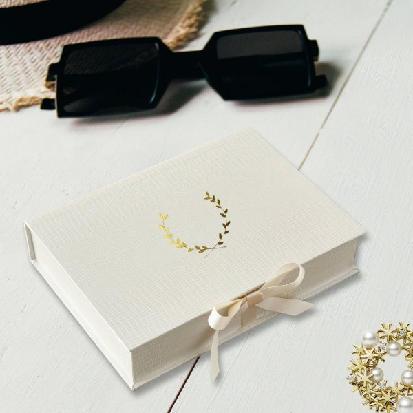 Gold foil stamped leatherette wedding box