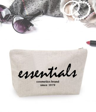 stylish logo printed hemp cosmetic bag