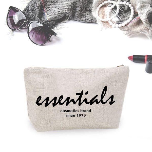 stylish logo printed hemp cosmetic bag