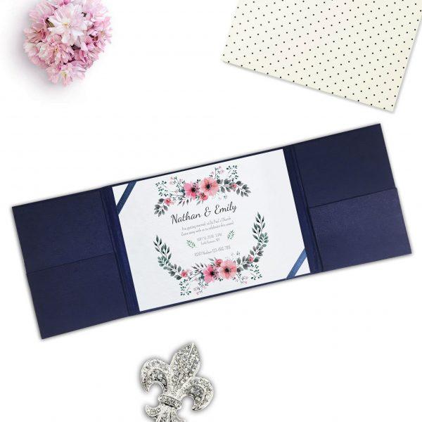 navy blue silk pocket fold wedding invitation for cards