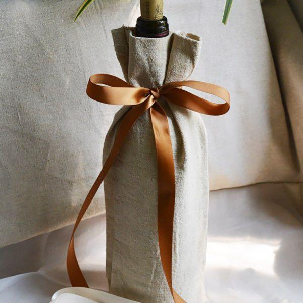 linen wine bottle bag