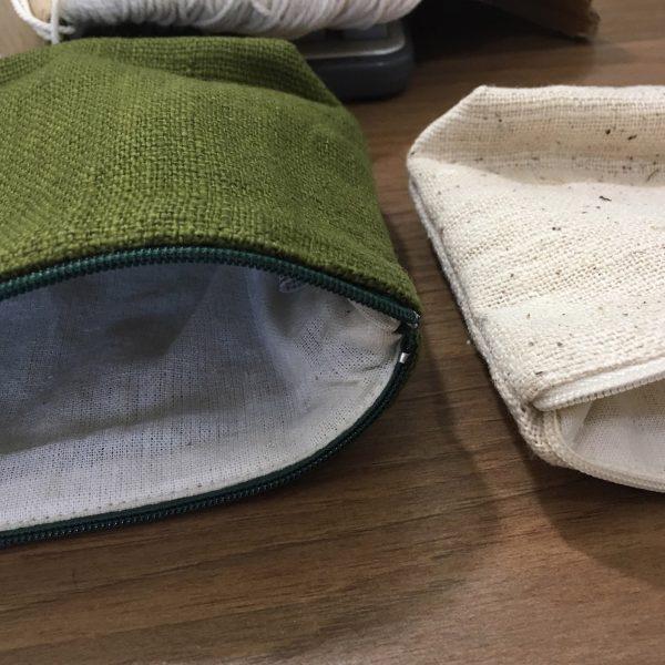 zippered hemp bag