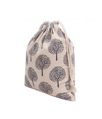 Printed linen drawstring bag
