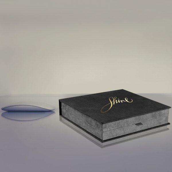 Black suede packaging box