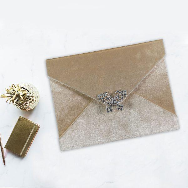 Velvet envelope with crystal brooch