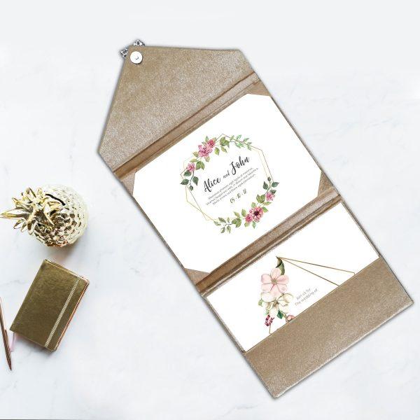 blush pink velvet envelope with brooch
