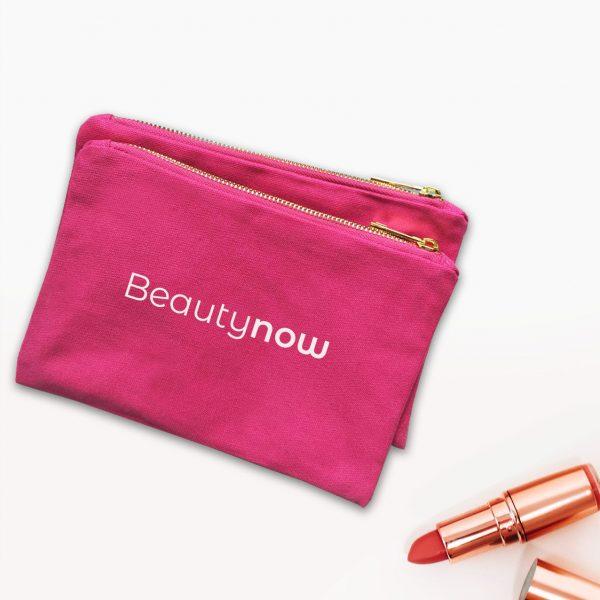 Pink canvas bag with YKK zipper