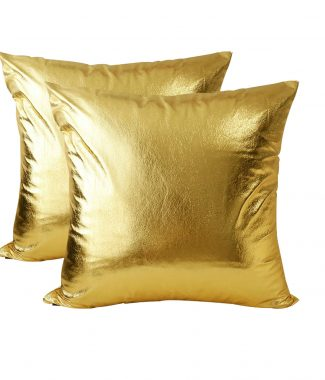 Golden leather pillow cover