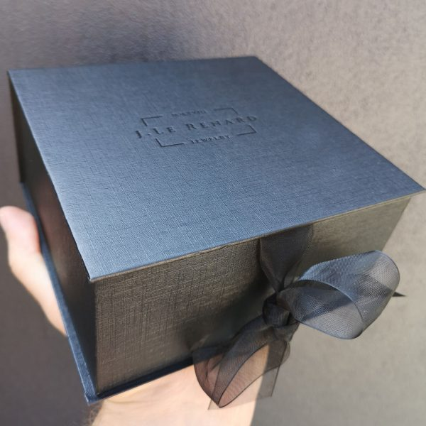 Black logo stamped jewelry box