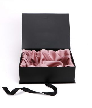 Luxury black paper box with rosegold satin interior
