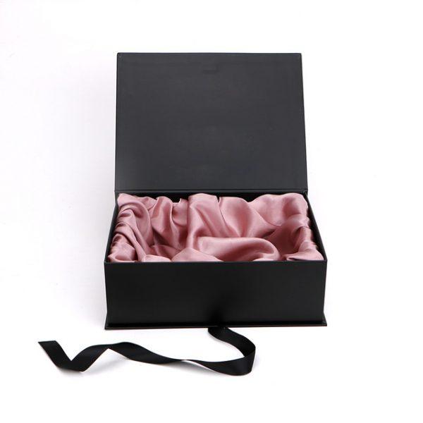 Luxury black paper box with rosegold satin interior