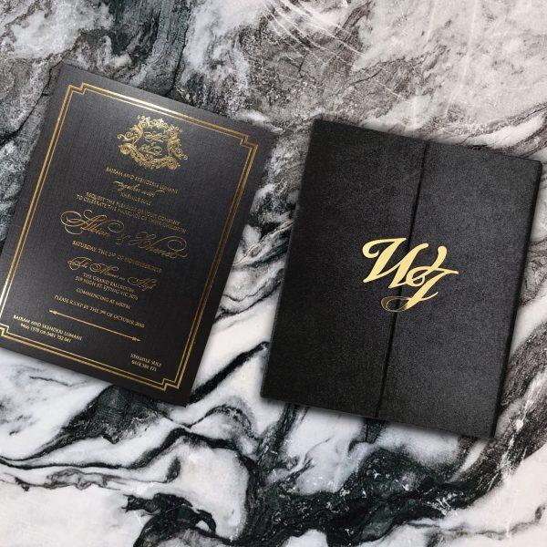 Luxury velvet monogram wedding invitation