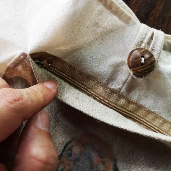 Zippered bag front at Thai coton bag