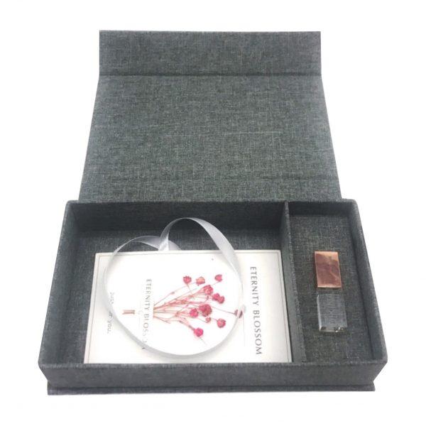 Dark grey linen USB box