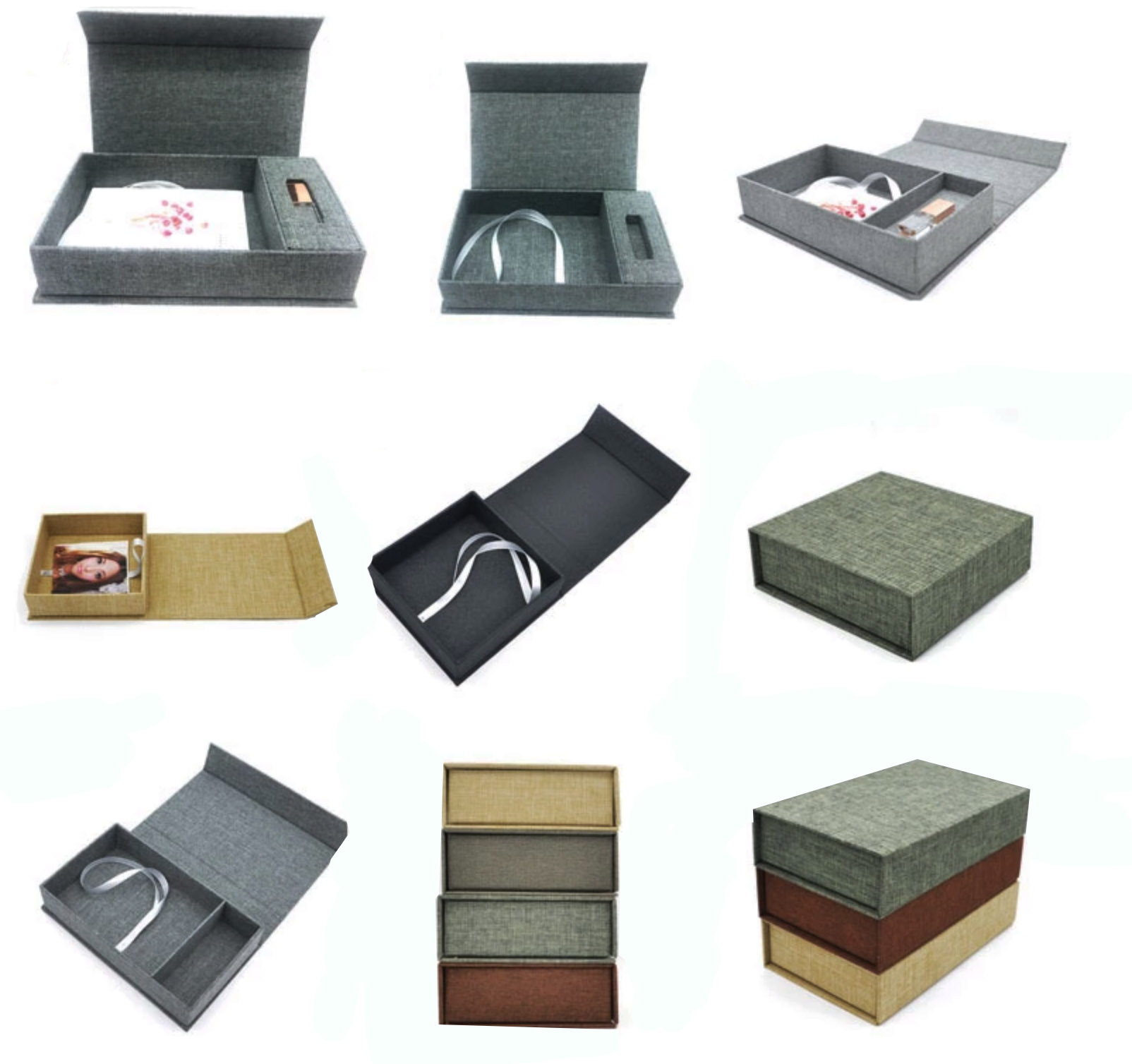 Variations of our stylish 100% linen USB boxes