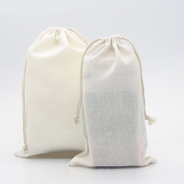 Personalized friendly linen drawstring bags