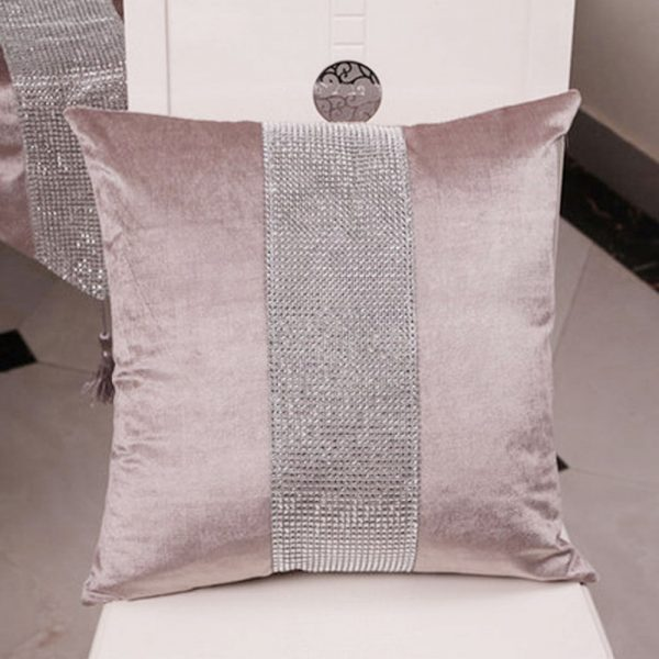 Velvet pillow cover with crystal decoration