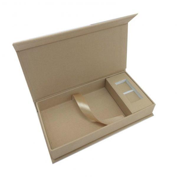 Beige linen USB box