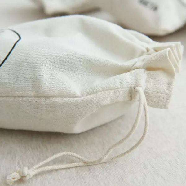 Close up picture of cotton drawstring bag
