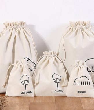 Logo printed cotton drawstring bags