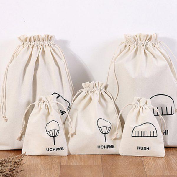 Logo printed cotton drawstring bags