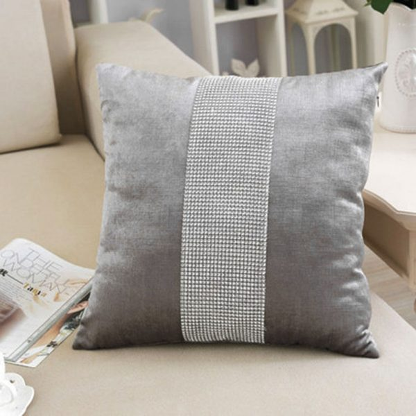 Silver velvet cushion cover