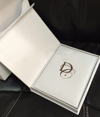 White paper wedding invitation box