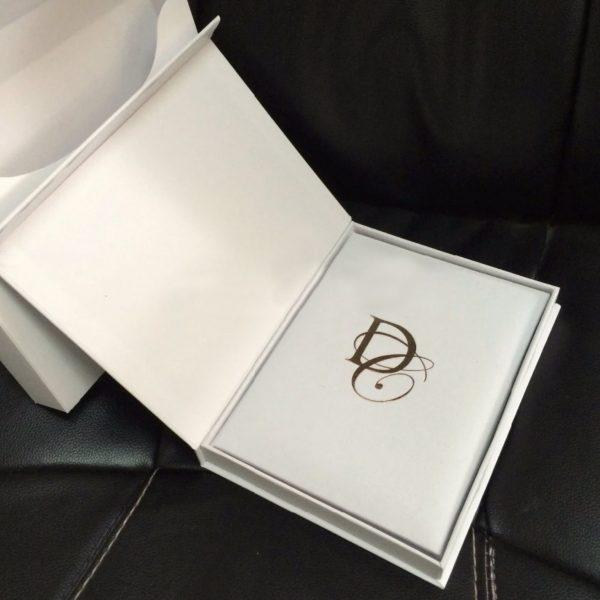 White paper wedding invitation box