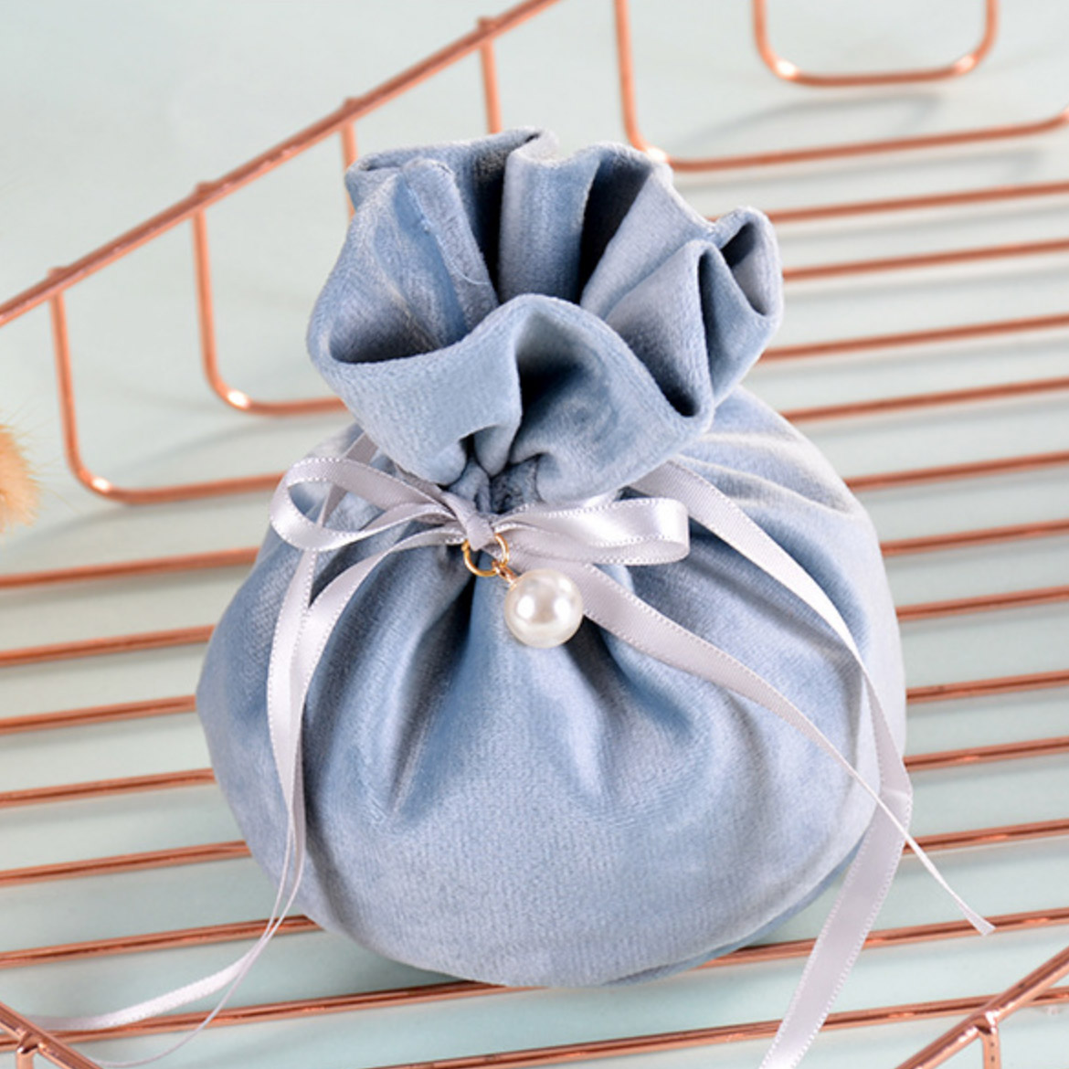 Beautiful flannel drawstring pouch