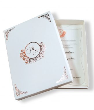 Foil stamped monogram wedding box