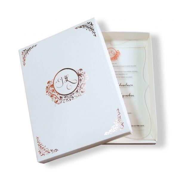 Foil stamped monogram wedding box