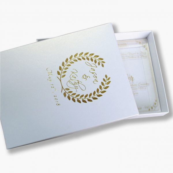 Foil stamped pearl white wedding box