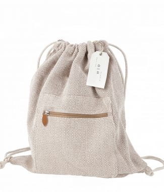 Hemp drawstring backpacks