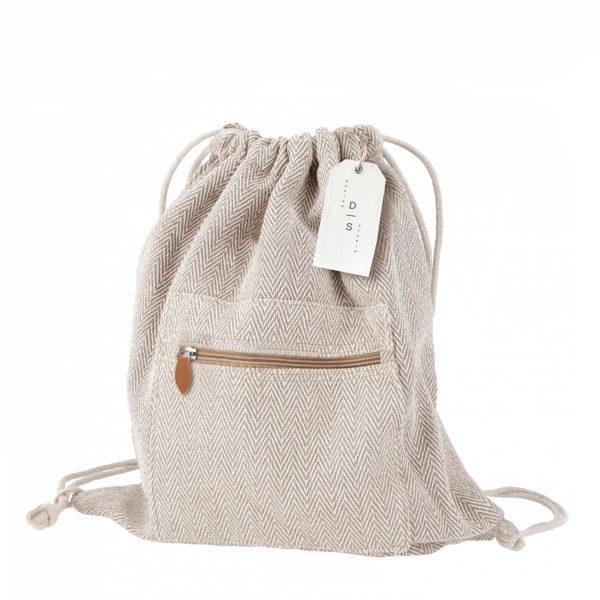 Hemp drawstring backpacks