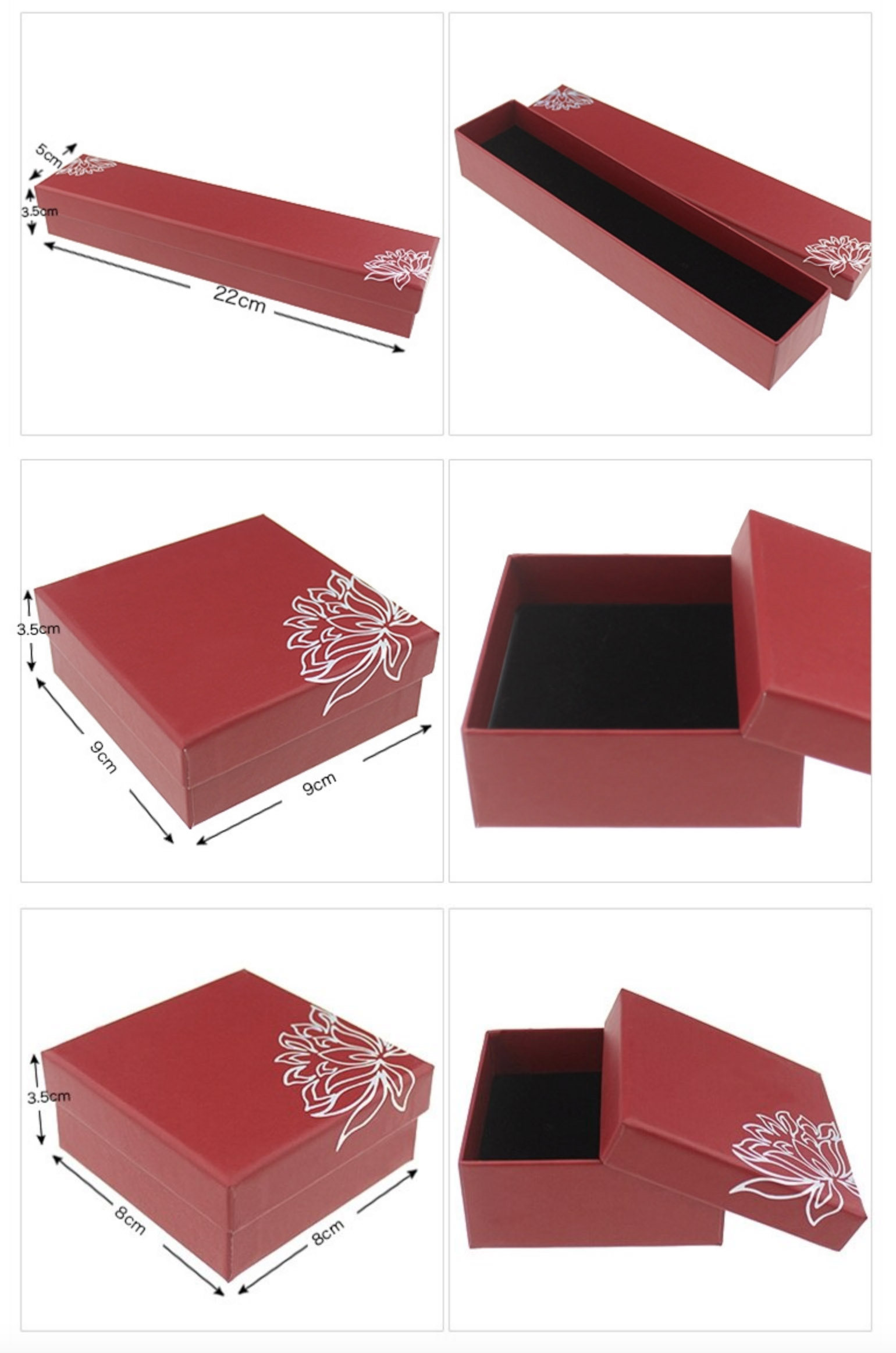 Luxury red gift boxes with lotus flower print