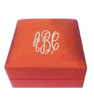 Monogram silk jewelry box