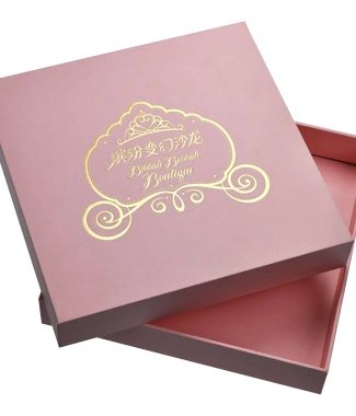 Pink candy box with gold foil stamp