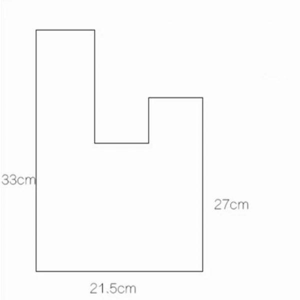 Drawing of bag measurements