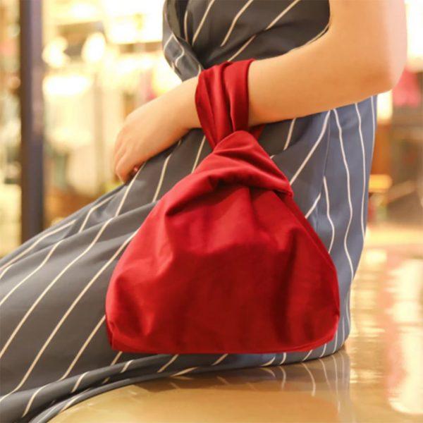red velvet clutch bag