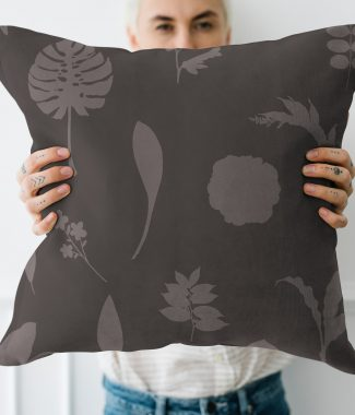Graphic printed linen cushion cover