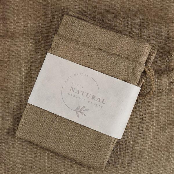 Brown hemp drawstring bag