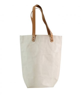 Canvas tote bag with leather handle