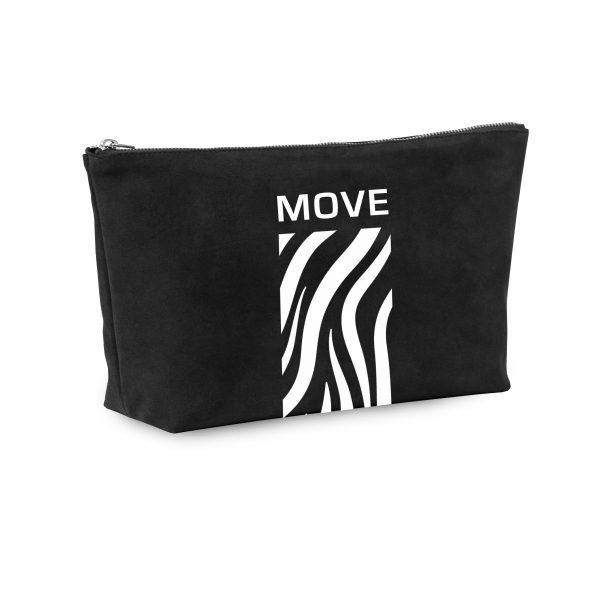 Black suede cosmetic bag