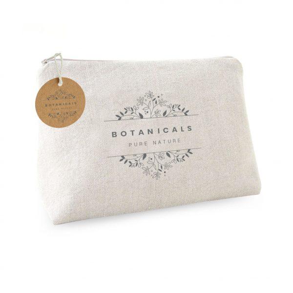 Zippered linen cosmetic bag