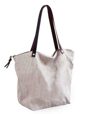 Zippered linen tote bag