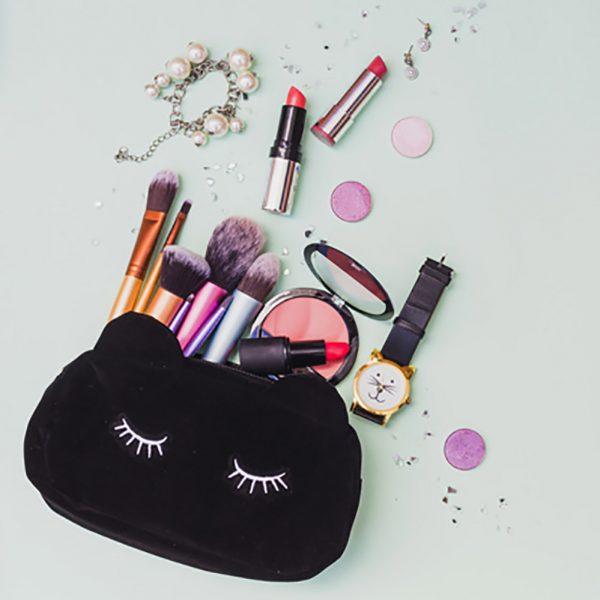 Embroidered black velvet cosmetic bag